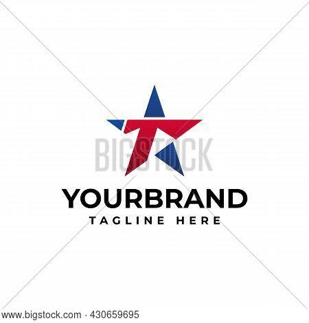 Letter T Logo, Blue Asterisk, Brand Identity, . Star Logo Design Concept Template