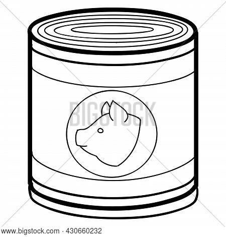 Sketch, Tin Can, Pork Stew, Coloring, Isolated Object On White Background, Vector Illustration, Eps