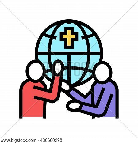 Religious Conflicts Social Problem Color Icon Vector. Religious Conflicts Social Problem Sign. Isola