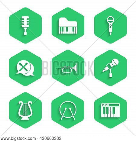 Set Trumpet, Drum And Drum Sticks, Music Synthesizer, Microphone, Ancient Lyre, And Icon. Vector