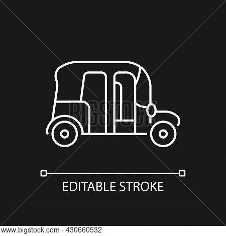 Auto Rickshaw White Linear Icon For Dark Theme. Three-wheeler Taxi. Passenger Car Equivalent. Thin L