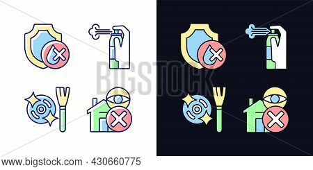 Drone Guideline Light And Dark Theme Rgb Color Manual Label Icons Set. Waterproof. Isolated Vector I