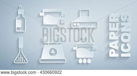 Set Scales, Kitchen Extractor Fan, Barbecue Spatula, Cooking Pot, And Bottle Of Olive Oil Icon. Vect