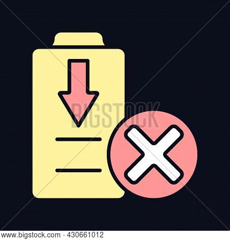 Dont Fully Drain Battery Rgb Color Manual Label Icon For Dark Theme. Isolated Vector Illustration On