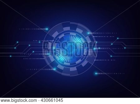 Abstract Cyberspace Digital Technology Background. Futuristic Blue Geometric Circle Graphic Vector.