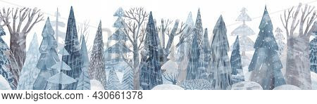 Snow-covered coniferous forest. Cute winter repeating landscape. Horizontal view of the winter forest.