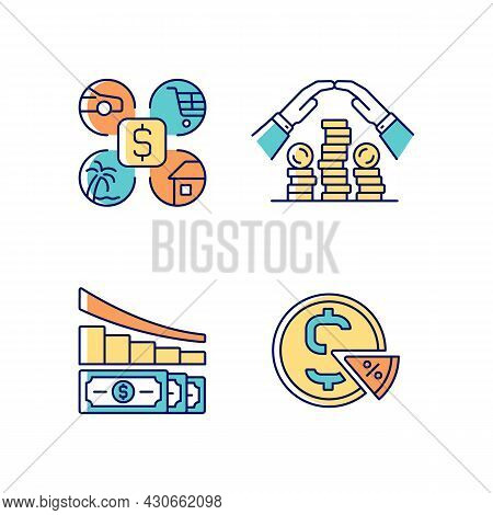 Money Spending Rgb Color Icons Set. Expense Planning. Personal Savings. Financial Literacy. Understa
