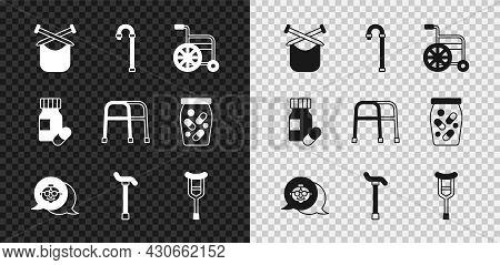 Set Knitting, Walking Stick Cane, Wheelchair, Grandmother, Crutch Or Crutches, Medicine Bottle Pills