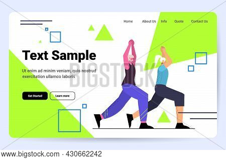 Senior Couple Doing Squats Aged People Training In Gym Aerobic Workout Healthy Lifestyle Active Old