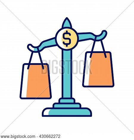 Comparison Shopping Rgb Color Icon. Choice Between Price Values In Store. Financial Literacy. Unders