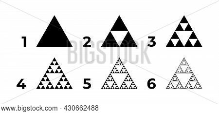 Evolution Of The Sierpinski Triangle. Steps Constructing Mathematical Geometric Endless Fractal Sier