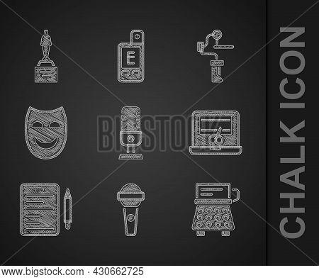 Set Microphone, Retro Typewriter, Video Recorder Laptop, Scenario, Comedy Theatrical Mask, Gimbal St