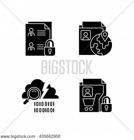 Maintain Information Security Black Glyph Icons Set On White Space. Employee Files. Ethnic Origin. D