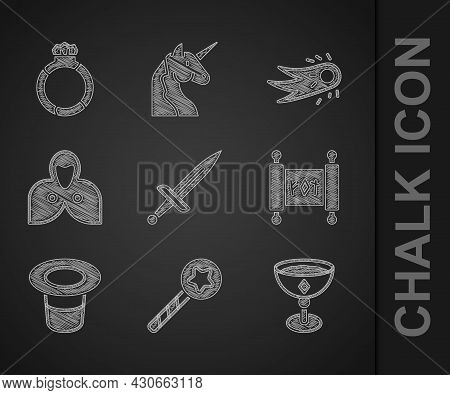 Set Dagger, Magic Wand, Medieval Goblet, Scroll, Hat, Mantle, Cloak, Cape, Fireball And Stone Ring W