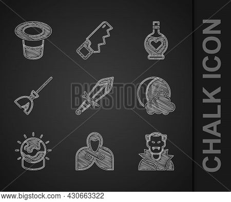 Set Medieval Sword, Mantle, Cloak, Cape, Vampire, Moon And Stars, Magic Ball, Witches Broom, Bottle