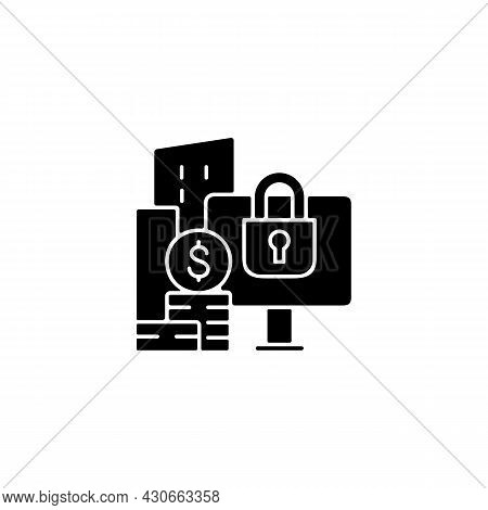 Material Nonpublic Information Black Glyph Icon. Security Trading. Cybersecurity Risks Prevention. B