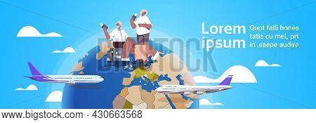 Elderly Couple Of Tourists Grandparents With Luggage Holding Passports And Tickets Active Old Age Su