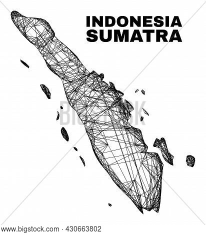 Net Irregular Mesh Sumatra Map. Abstract Lines Are Combined Into Sumatra Map. Wire Carcass 2d Net In
