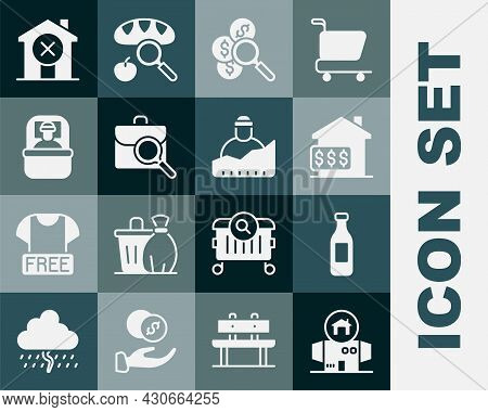 Set Homeless Cardboard House, Bottle Of Water, House With Dollar, Search For Money, Work Search, Sle