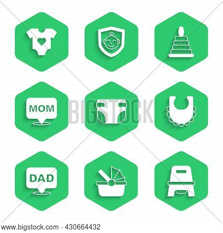Set Baby Diaper, Stroller, Potty, Bib, Speech Bubble Dad, Mom, Pyramid Toy And Clothes Icon. Vector