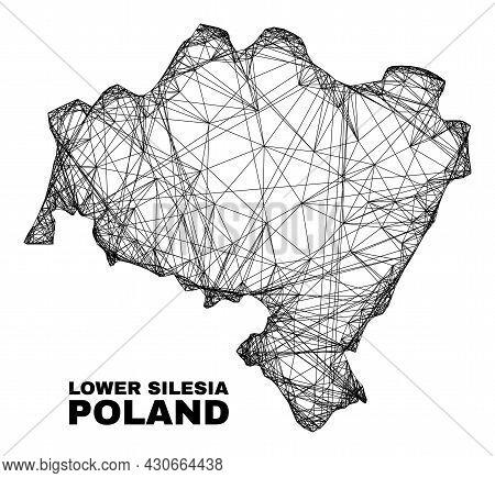 Network Irregular Mesh Lower Silesia Province Map. Abstract Lines Form Lower Silesia Province Map. L