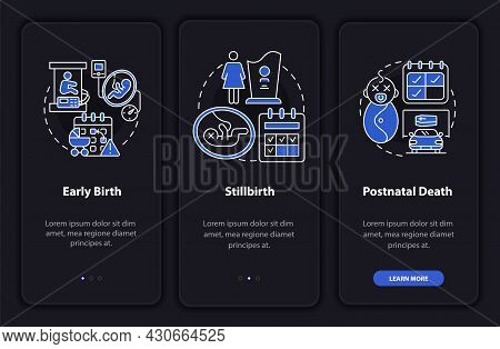 Maternity Leave Cases Dark Onboarding Mobileapp Page Screen. Walkthrough 3 Steps Graphic Instruction