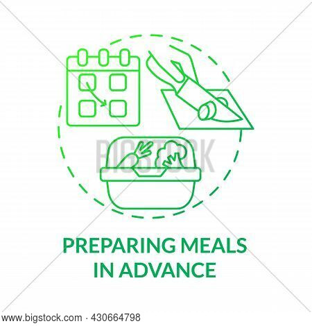 Preparing Meals In Advance Green Gradient Concept Icon. Prep Foods Ahead Abstract Idea Thin Line Ill