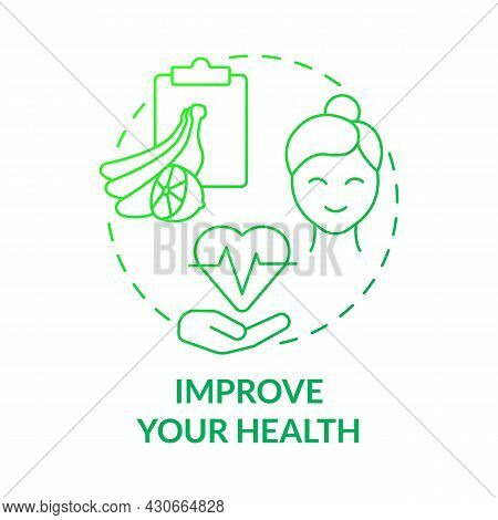 Improve Your Health Green Gradient Concept Icon. Healthy Products Abstract Idea Thin Line Illustrati