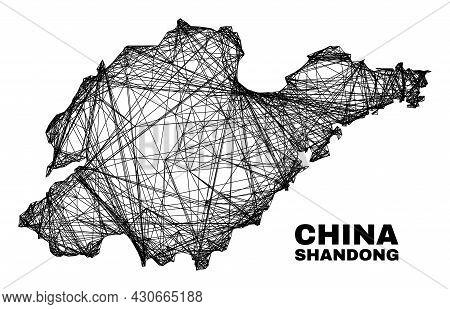 Net Irregular Mesh Shandong Province Map. Abstract Lines Form Shandong Province Map. Wire Carcass 2d