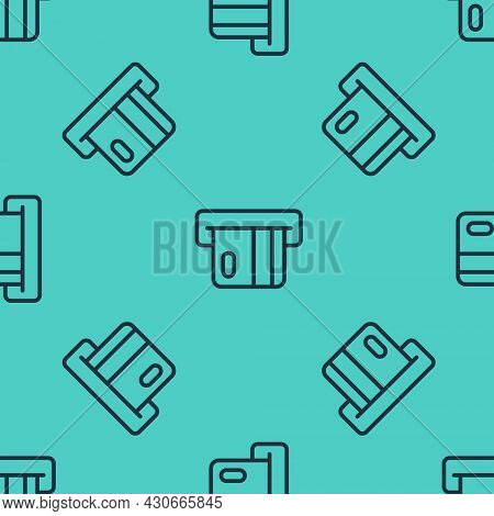 Black Line Credit Card Inserted In Card Reader Icon Isolated Seamless Pattern On Green Background. A