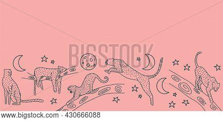 Pink Tropical Repeat Border Cheetah Night Jungle
