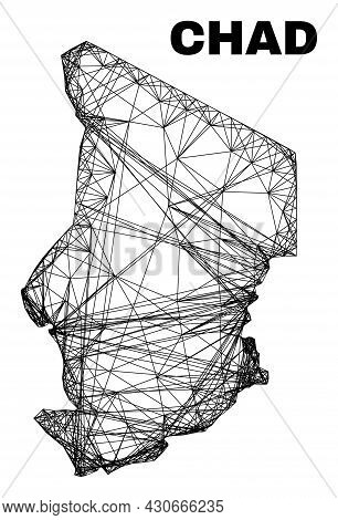 Net Irregular Mesh Chad Map. Abstract Lines Are Combined Into Chad Map. Wire Carcass Flat Net In Vec