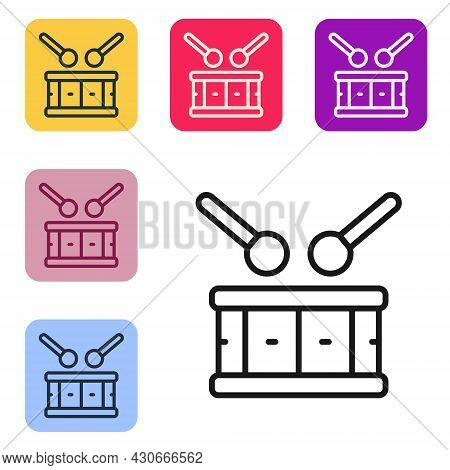 Black Line Drum With Drum Sticks Icon Isolated On White Background. Music Sign. Musical Instrument S