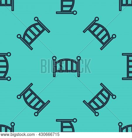 Black Line Baby Crib Cradle Bed Icon Isolated Seamless Pattern On Green Background. Vector