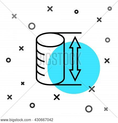 Black Line Height Geometrical Figure Icon Isolated On White Background. Abstract Shape. Geometric Or