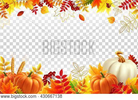 White And Yellow Pumpkins, Orange Leaves On Transparent Background. Autumn Festival Invitation. Bord