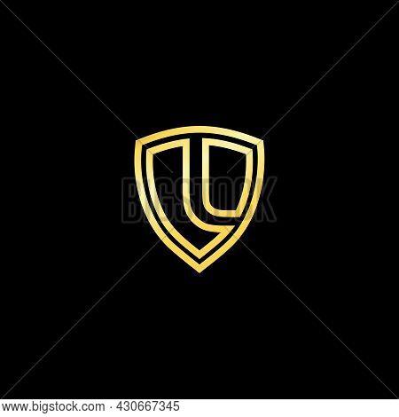Gold Shield Logo Design For Letter L. Realistic Logo Template Design Vector For Letter L. Gold Metal