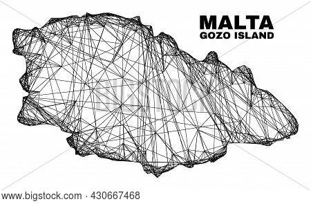 Net Irregular Mesh Gozo Island Map. Abstract Lines Form Gozo Island Map. Linear Carcass Flat Net In