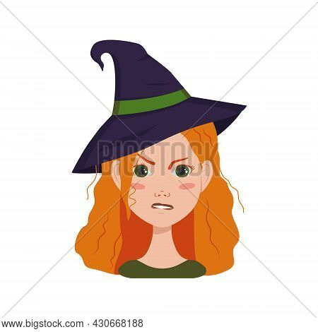 Avatar Of A Woman With Red Curly Hair, Angry Emotions, Furious Face And Pursed Lips, Wearing A Witch
