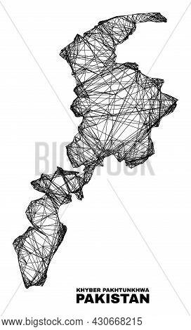 Net Irregular Mesh Khyber Pakhtunkhwa Province Map. Abstract Lines Form Khyber Pakhtunkhwa Province