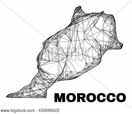 Net Irregular Mesh Morocco Map. Abstract Lines Form Morocco Map. Linear Carcass 2d Net In Vector For
