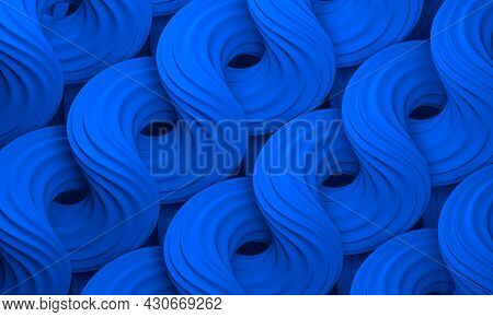 Abstract Blue Wavy Curved Forms. Twisted Shapes. Volumetric Digital Artwork. 3d Rendering Illustrati