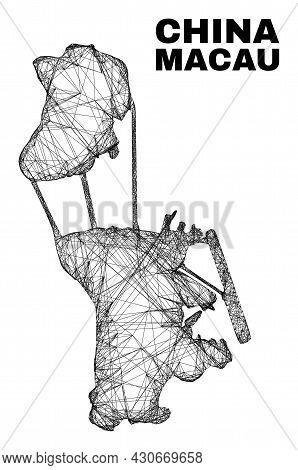 Carcass Irregular Mesh Macau Map. Abstract Lines Form Macau Map. Wire Carcass 2d Network In Vector F