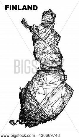 Carcass Irregular Mesh Finland Map. Abstract Lines Form Finland Map. Linear Carcass Flat Net In Vect