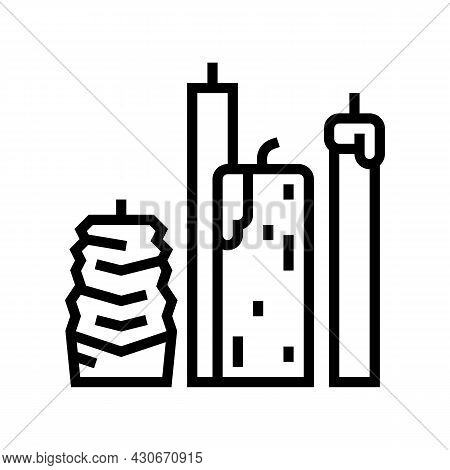 Beeswax Candles Beekeeping Line Icon Vector. Beeswax Candles Beekeeping Sign. Isolated Contour Symbo