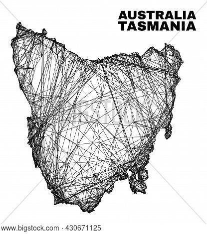 Net Irregular Mesh Tasmania Island Map. Abstract Lines Form Tasmania Island Map. Wire Carcass Flat N