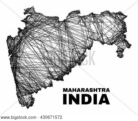 Wire Frame Irregular Mesh Maharashtra State Map. Abstract Lines Are Combined Into Maharashtra State