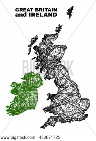 Wire Frame Irregular Mesh Great Britain And Ireland Map. Abstract Lines Are Combined Into Great Brit