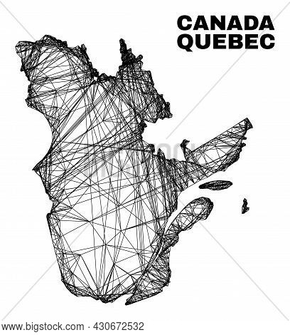 Net Irregular Mesh Quebec Province Map. Abstract Lines Are Combined Into Quebec Province Map. Wire F