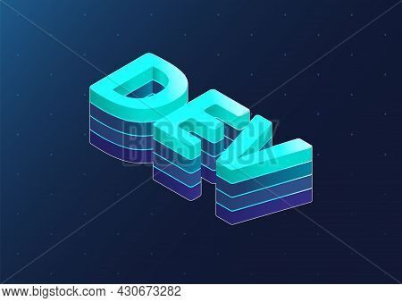 Dev 3d Isometric Vector Text. Isometric Blue Letters On Dark Blue Background As Example For Software